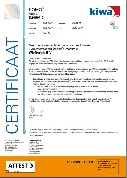 Certificaat KIWA Ecobag