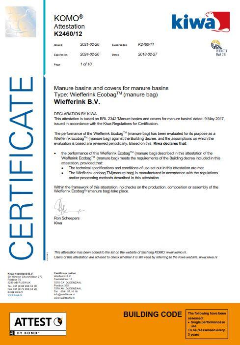 Certificaat KIWA Ecobag engels