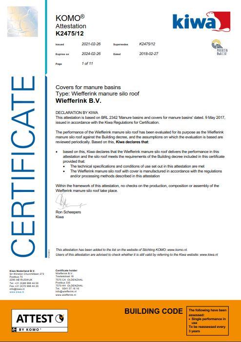 Certificaat Silodak KIWA engels
